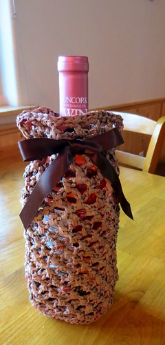 Recycled Plastic Bag Wine Holder
