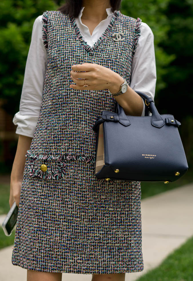 Chanel 18P crystal/pearl brooch, J.Crew stretch button-up shirt with peplum, J.Crew v-neck fringe sheath dress in multicolor metallic tweed, Olivia Burton watch, Burberry small Banner bag