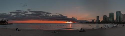 nikon d5600 tamron 16300 sunset sky clouds honolulu hawaii oahu ocean water hoyaredintensifierfilter beach boats buildings people pano
