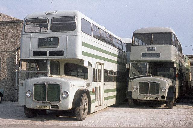 Roselyn Coaches ( L J Ede ) . Par , Cornwall . 311MFC . Par Garage , Cornwall . 24th-April-1977 .