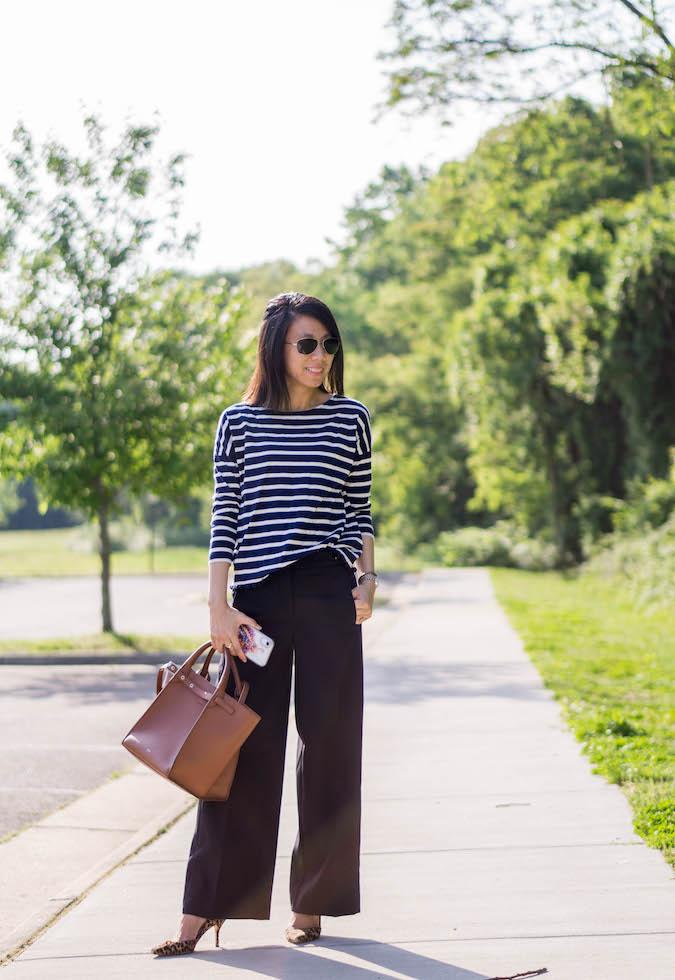 J.Crew stripe top with tassels, Ann Taylor button tab wide leg pants, Celine small big bag, J.Crew Colette d'orsay pumps in leopard calf hair