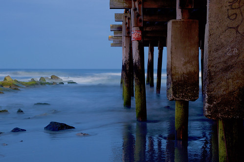 longexposure beach surf ocean waves sand coast pier wooden atlanticcity newjersey evening boardwalk