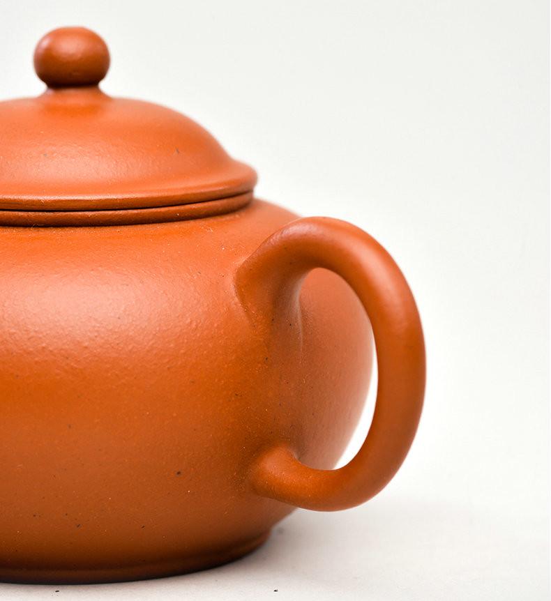 """Yixing Teapot """"Shui Ping Hu"""" (Horizontal Pot) around 120cc ZhaoZhuang ZhuNi Mud"""
