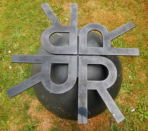 The Letter R, a sculpture in the counter-culture area of Copenhagen called Christiania, Denmark
