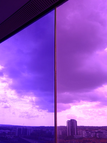 Purple view from ARoS Rainbow Roof walk in Aarhus, Denmark