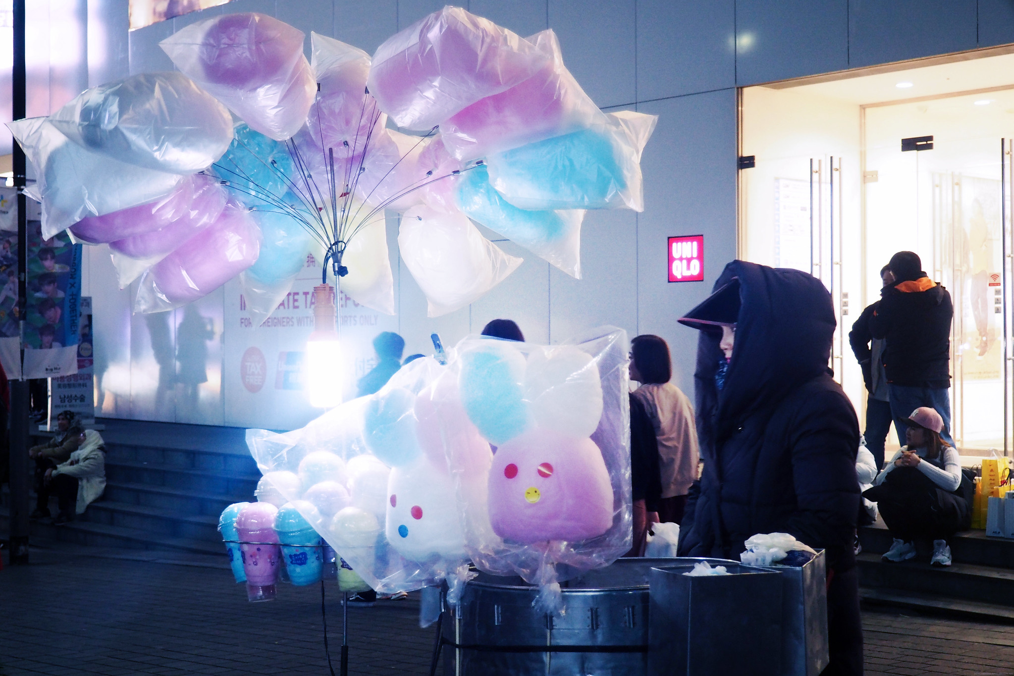 Pastel Colors Aesthetic Candyfloss stall Seoul South Korea_effected