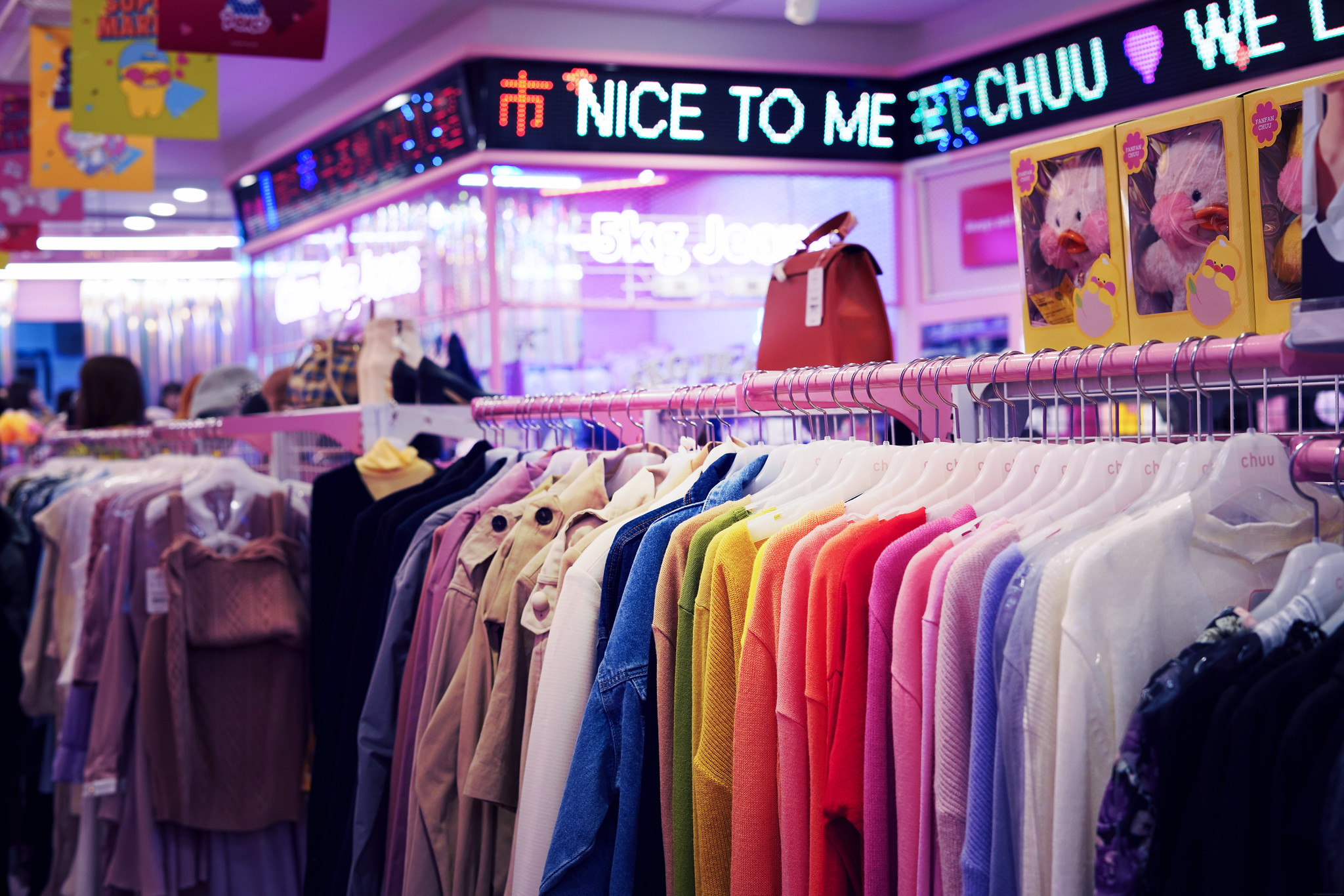 Cute Pastel Clothing store Seoul South Korea_effected