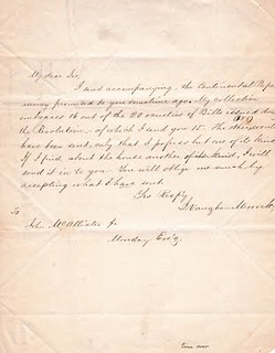 Merrick letter to McAllister on Continental Paper Money