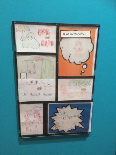 "created by visitors to the ""Out of the Box"" exhibit on Graphic Novels at Eric Carle Museum"