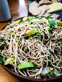 Soba noodles with Basil, Coriander, Cardamon and lime vinegrette | by michtsang