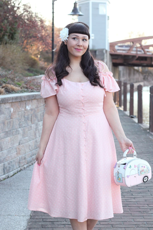 peach pink polka dot dress