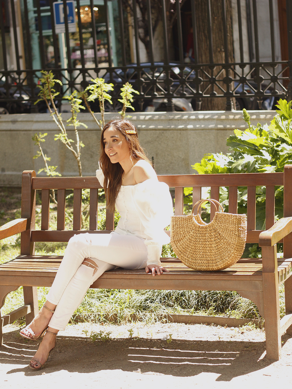 White Linen Top jeansstraw bag street style outfit 201911