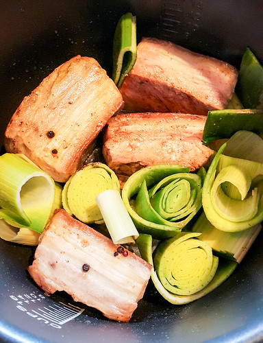 Braised pork belly and leek noodle soup