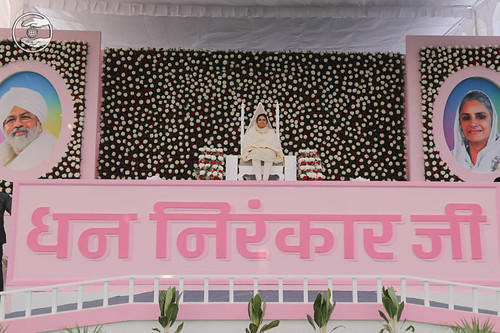 Satguru Mata Sudiksha Ji Maharaj on the dais