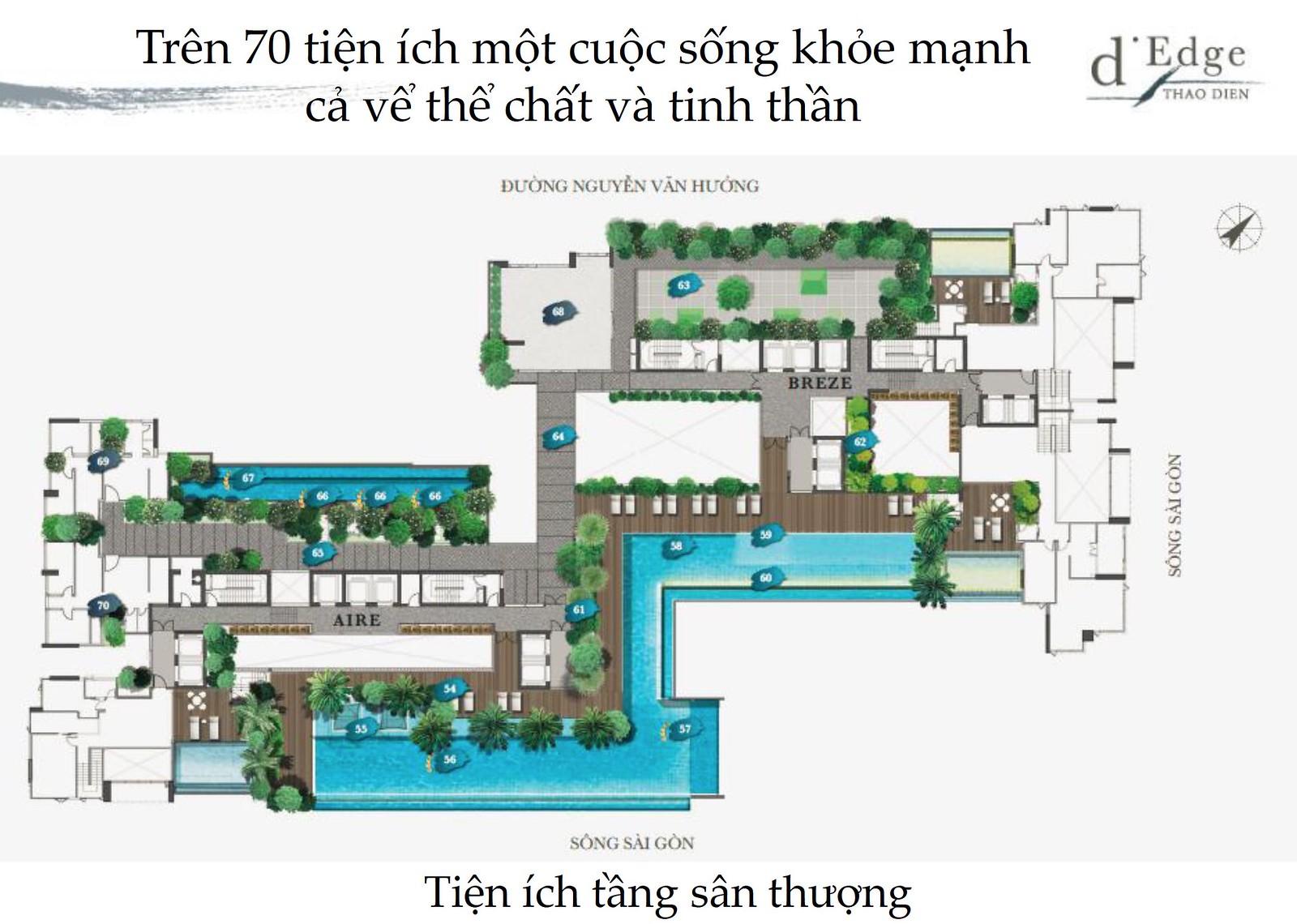 tiện ích sân thượng tại D'Edge Thảo Điền