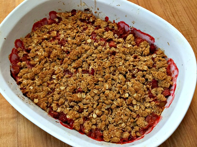 rhubarb crisp warm from the oven