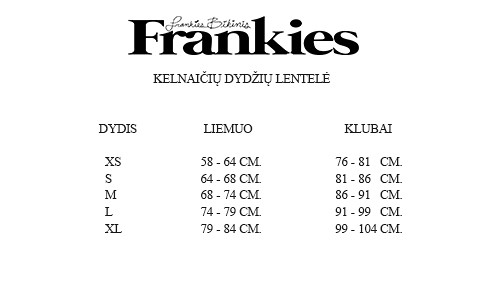Frankies moteriškų dydžių lentelė