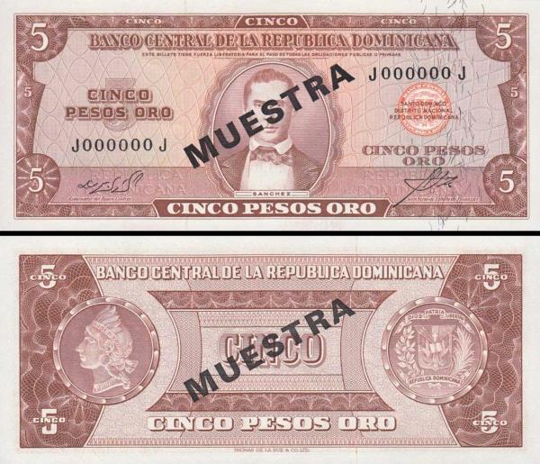 100 Pesos Oro Dominikánska republika 1966-70 P100a2-s