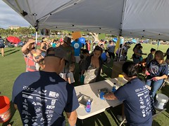 Maui Electric's 2019 Keiki Tilapia Fishing Tournament — May 11, 2019: The weighing station was jam packed! You couldn't qualify to win the tournament if your fish wasn't officially weighed.
