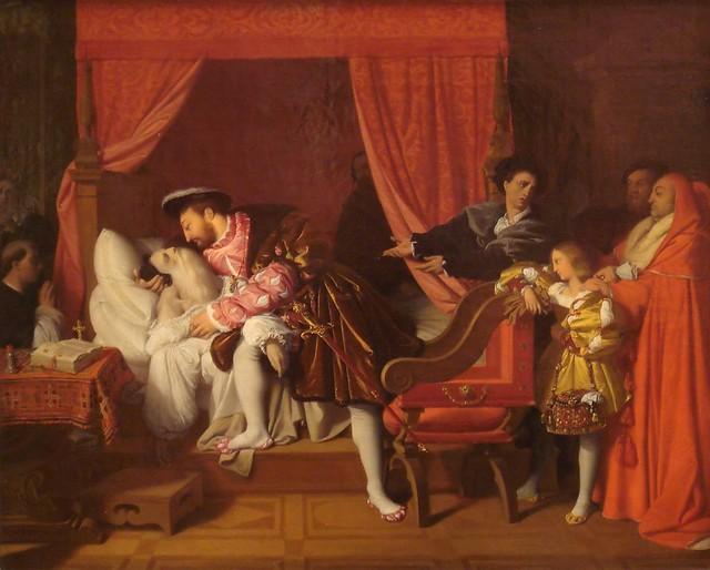 Pintura sobre la muerte de Leonardo da Vinci en brazos del rey de Francia Francisco I