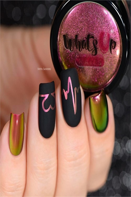 33 Pretty Chrome Nail Art Designs 2019 #nail_art_designs #trendy_nails #chrome_nails #chrome_manicure