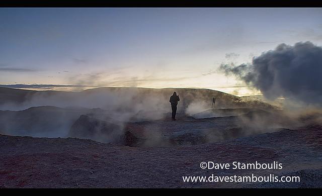 Sol de Mañana geysers steaming at dawn, Salar de Uyuni, Bolivia