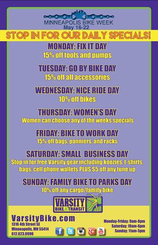 Minneapolis Bike Week, calendar of events, poster