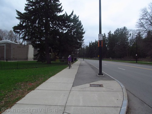 The Sidewalk for walkers (left) and bikers (right) as part of the Genesee Riverway Trail in Rochester, New York