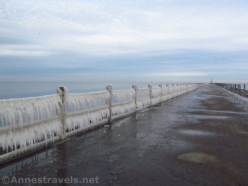 Icicles on the Charlotte Pier in December, Rochester, New York