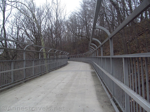 The rampway down (or back up) to the pedestrian bridge over the Genesee River Gorge along the Genesee Riverway Trail in Rochester, New York
