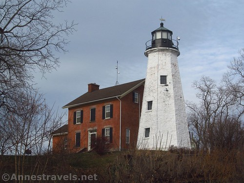 The historic Charlotte Lighthouse near the Port of Rochester in Charlotte, New York