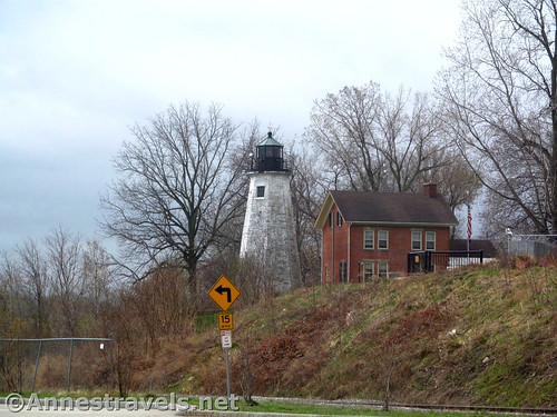 The historic Charlotte Lighthouse up on the hill above the Port of Rochester along the Genesee Riverway Trail, New York