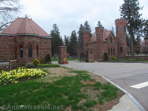 Castle-like entry to Riverside Cemetary along Lake Avenue and the Genesee Riverway Trail in Rochester, New York
