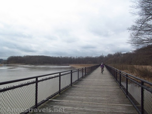 Biking the boardwalk at Turning Point Park, part of the Genesee Riverway Trail in Rochester, New York