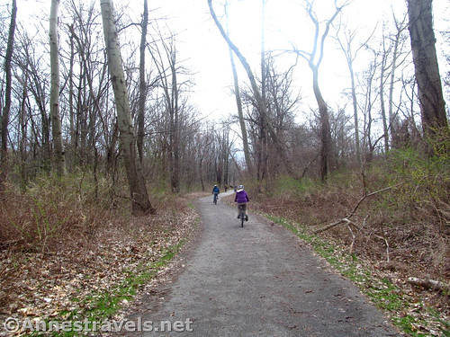 An average photo of the Genesee Riverway Trail north of Turning Point Park in Rochester, New York