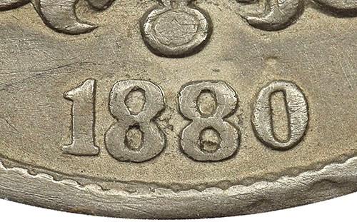 1880 Sheild Nickel altered date closeup