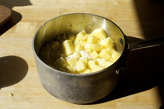 peeled and diced yukon gold poatoes