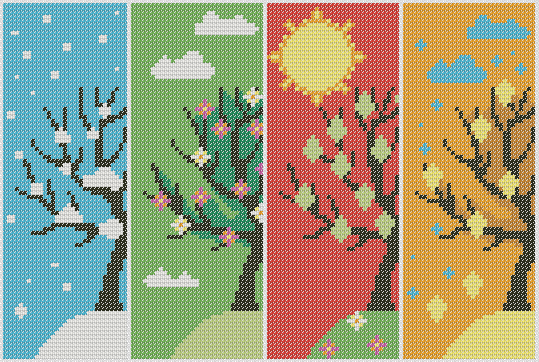 Preview of Large Cross Stitch Pattern Free: Scenic 4 Seasons