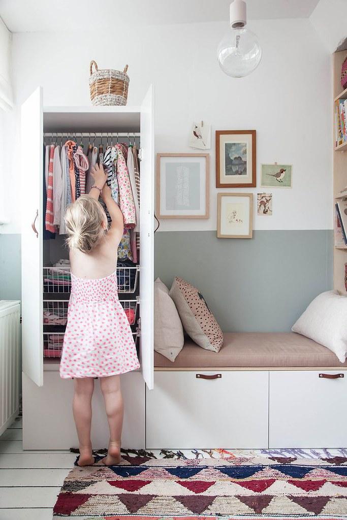 36 Charming Living Room Ideas: IKEA Wardrobe Hack In Charming Little Girl's Bedroom