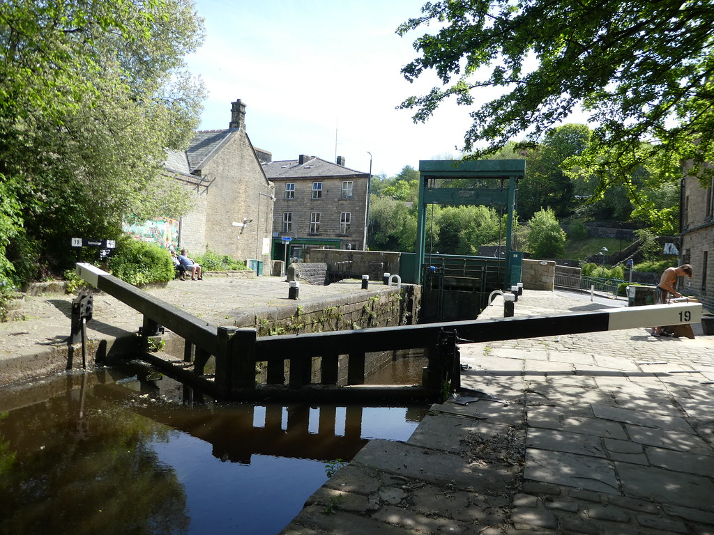 The lock gates in the centre of Todmorden
