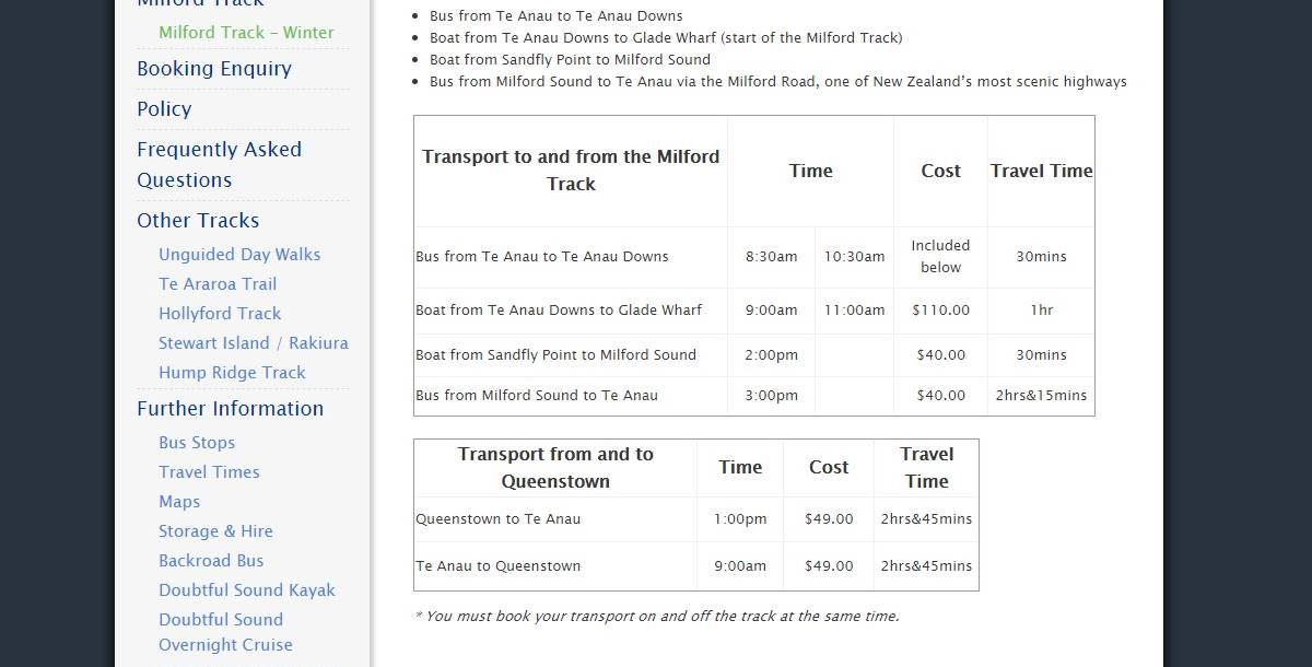 ミルフォードトラック オフシーズンの料金情報