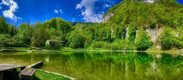 Panorama of Luegsteinsee near Oberaudorf, Bavaria, Germany