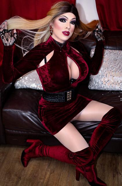 Little red velvet dress and boots
