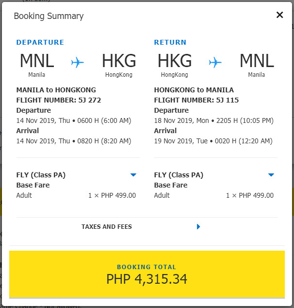 Manila to Hong Kong Cebu Pacific promo roundtrip