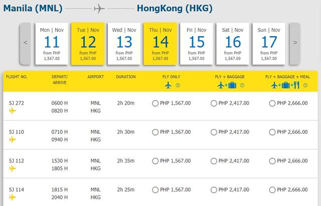 Cebu Pacific Manila to Hong Kong Promo