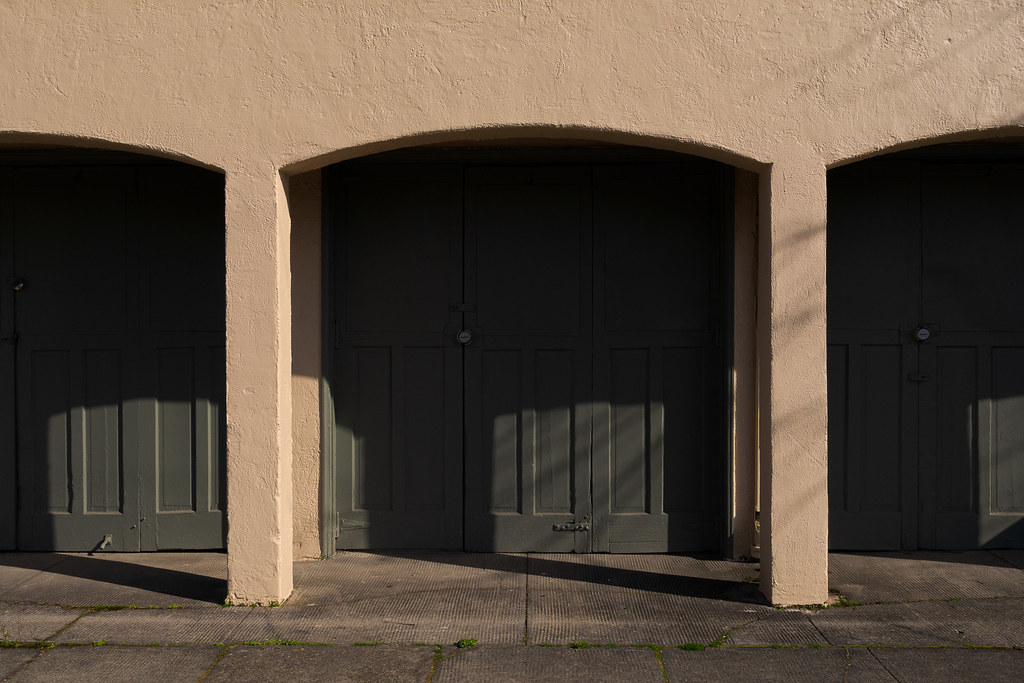 A row of garages lie in shadow in the Irvington neighborhood of Portland, Oregon in April 2017