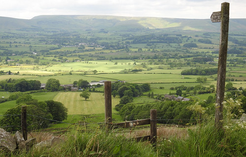 landscape ribblevalley forestofbowland lancashire countryside green fields meadows fence stile drystonewall bowlandfells fells moorland valley footpathsign june spring quote