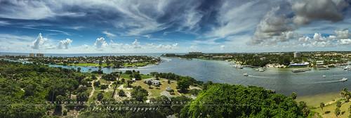 palmbeachcounty ocean waterway atlanticocean inlet cloudysky clouds tropical sky palmbeachflorida jupiterinlet jupiterflorida florida panorarmicofjupiterinlet panoramic panoramicview
