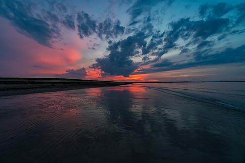 ocean sunset reflection beach water weather landscape ma coast sand bourne statepark unitedstates