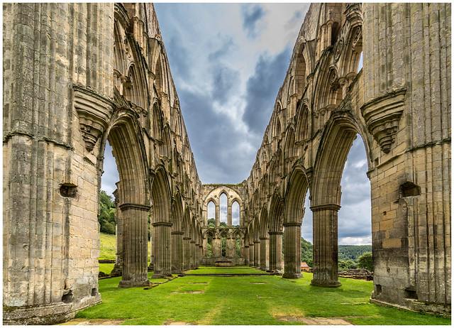 Inside Rievaulx Abbey, North Yorkshire, England.